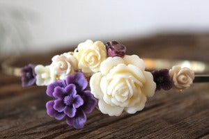 Image of Dark Purple & Ivory Floral Bouquet Headband