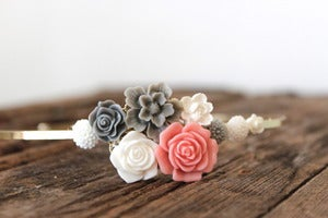 Image of Coral & Grey Floral Bouquet Headband