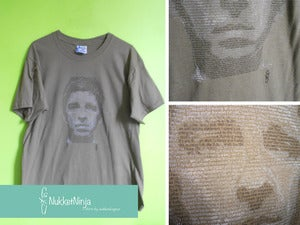 Image of Noel Gallagher's face t-shirt 3 inks!