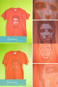 Image of Noel Gallagher's face t-shirt 2 inks!