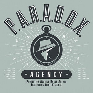 "Image of ""P.A.R.A.D.O.X. Agency"" - Oyster Grey tee"