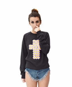 Image of FLOWER CROSS BLACK SWEATER
