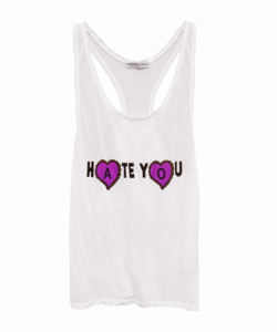 Image of HATE YOU WHITE TANK