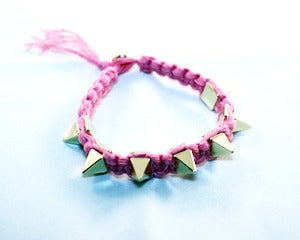 Image of Pink / Gold Spike Nylon Bracelet