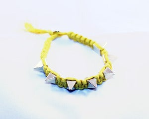 Image of OrangeGoldish / Gold Spike Nylon Bracelet