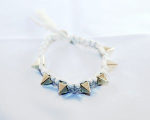 Image of White / Gold Spike Nylon Bracelet