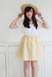 Image of Ella Yellow Heart Print Skirt