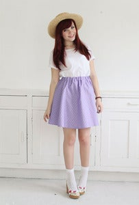 Image of Ella Purple Heart Print Skirt