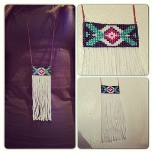 Image of Hand Beaded White Fringe Necklace