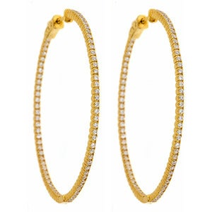 "Image of "" New "" Kara Ackerman <i> Talulah <i/> Common Prong Skinny Hoops in Yellow Gold"