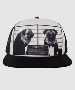Image of Unisex | Pug Shot | 5 Panel Snap Back Foam Trucker | Black/White