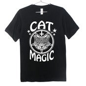 Image of Cat Magic Occult T-Shirt | White on Black