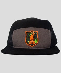 Image of Unisex | ATA Camo Logo | 5 Panel Runners Cap | Black/Gray