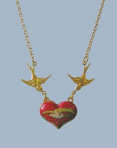 Image of Kissy Kissy Vintage Heart Necklace