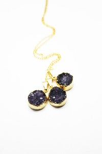 Image of NEW IN! Single Aureole Amethyst Semi- Precious Druzy Pendant