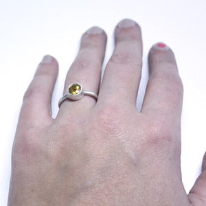 Image of yellow beryl sterling silver solitaire ring