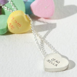 Image of sterling silver conversation heart necklace