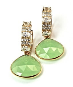 Image of Natural Seafoam Green Chalcedony and Vermeil Earrings