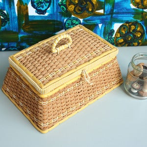 Image of Vintage Yellow Wicker Sewing Basket
