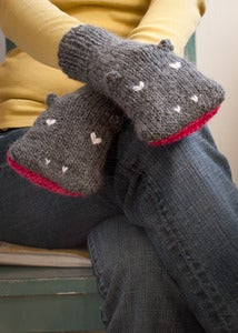 Image of PATTERN - Knit Hippopotamus Mittens - Adult Sizes