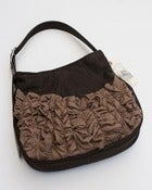 Image of - S O L D - a large tough ruffles shoulder bag in espresso + truffle