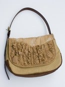 Image of - S O L D - a large tough ruffles shoulder bag in vintage lace + beige