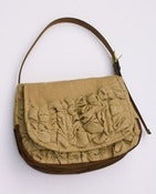 Image of - S O L D - a large tough ruffles shoulder bag in almond