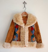 Image of vintage patch work faux fur jacket S