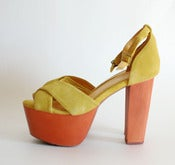 Image of yellow sandal high heel