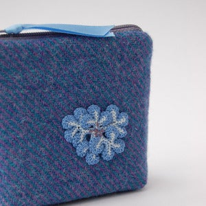 Image of Blue and purple Harris Tweed purse