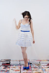 Image of Nautical Sequin Stripe Prom Dress - Fleurt MADE TO ORDER