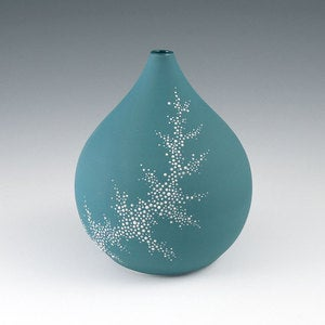 Image of Vase Aqua - Short Pebble Vase in Aqua