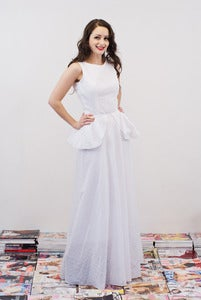Image of White Broderie Peplum Maxi Dress - Anastasia MADE TO ORDER