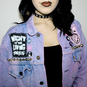 Image of SICK X NIGHT OF THE LIVING THREAD - 'COSMIC ACID' denim jacket MEDIUM