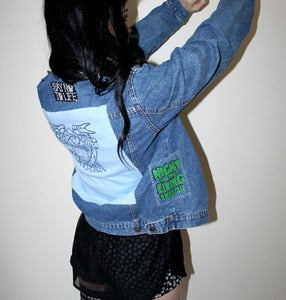 Image of SICK X NIGHT OF THE LIVING THREAD - 'BABY BLUE' denim jacket SMALL