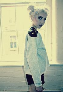 Image of Grey Faux Black Leather Skull Shoulder Stud Jumper
