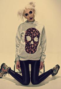 Image of Applique Black Floral Skull Grey Jumper