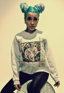 Image of Applique Tiger Print Grey Jumper