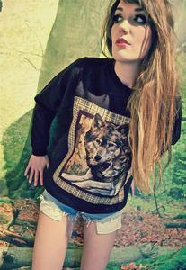Image of Applique Wolf Print Black Jumper