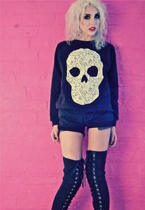Image of Applique Ivory Lace Skull Black Jumper