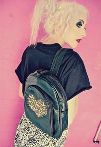 Image of Leopard Print Love Heart Real Leather Rucksack Backpack Bag