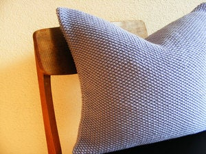 Image of Hand Knit Moss Stitch Cushion (Lavender Blue)(50x50cm)