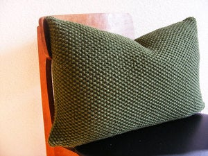 Image of Hand Knit Moss Stitch Cushion (Military Green)(50x40cm)