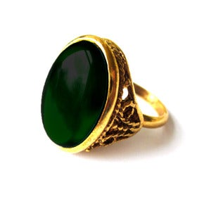 Image of Emerald Green Vintage Cocktail Ring