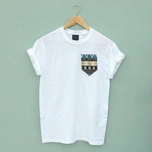 Image of Blue Aztec Pocket Tee by Patch Apparel 