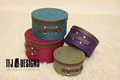 Image of Hat Box Set - FOUR Sizes - Dark Red, Teal, Purple &amp; Sage Green