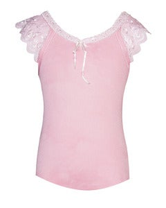 Image of Pretty girly lace cotton tank in lolly PINK
