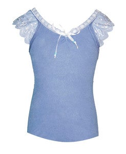 Image of Pretty girly lace cotton tank in cornflower Blue