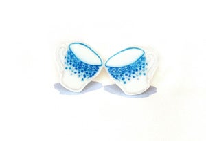 Image of Blue Teacup Earrings