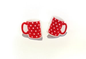 Image of Red Spotty Mug Earrings